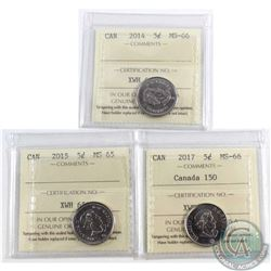 2014 Canada 5-cent ICCS Certified MS-66, 2015 5-cent MS-65 & 2017 5-cent MS-66 Canada 150. 3pcs