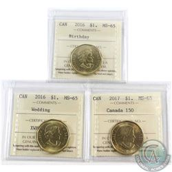2016 Canada $1 Birthday, 2016 $1 Wedding & 2017 $1 Canada 150 ICCS Certified MS-65. 3pcs