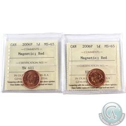 Lot of 2x 2006P Canada 1-cent Magnetic ICCS Certified MS-65 Red. 2pcs