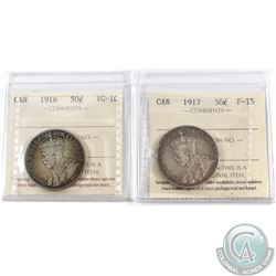 1916 Canada 50-cent ICCS Certified VG-10 & 1917 50-cent F-15. 2pcs
