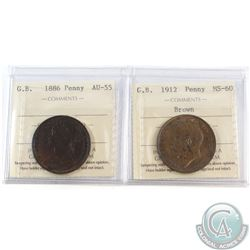 1886 Great Britain One Penny ICCS Certified AU-55 & 1912 One Penny ICCS Certified MS-60 Brown. 2pcs