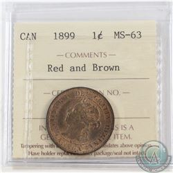 1899 Canada 1-cent ICCS Certified MS-63 Red and Brown