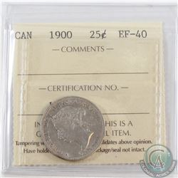 1900 Canada 25-cent ICCS Certified EF-40