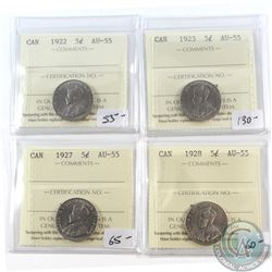 Lot of 4x Canada 5-cent ICCS Certified AU-55 - 1922, 1923, 1927 & 1928. 4pcs
