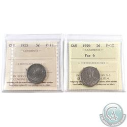 1925 Canada 5-cent & 1926 Far 6 ICCS Certified F-12. 2pcs