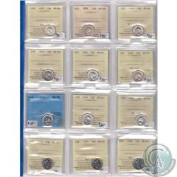 Estate Lot of 11x ICCS & 1x CCCS Certified Canada 10-cent. You will receive 1937 MS-64, 1938 AU-50,