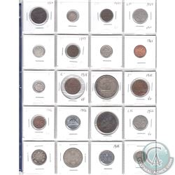 Estate Lot of 20x Canada 1-cent, 5-cent, 10-cent, 25-cent, 50-cent & Silver $1 Dated 1882-1961 in Pl