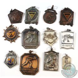 Estate lot of 12x Vintage Sport Medals. You will receive: Old Orchard Champion Medal, 1934 Y.M.C.A C