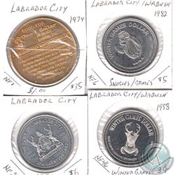 Estate Lot of 4x Labrador City/Wabush, Newfoundland Trade Dollars Dated 1974, 1982, 1986 & 1998. 4pc