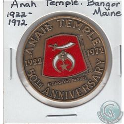 1922-1972 Anah Temple Bangor, Maine 50th Anniversary Shriner Bronze Medallion (35mm) & The Rendezvou