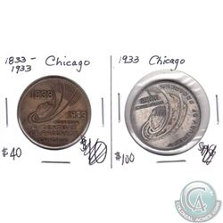 2x 1833-1933 Chicago 'A Century of Progress' Medallions. You will receive a Bronze and Silver Colour