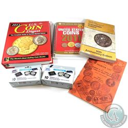 Collection of Assorted Coin Guides with 8x 15mm & 14mm used Quadrum Capsules. This lot includes the
