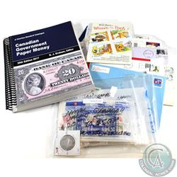 Estate lot of Canadian Stamps, Envelopes, Pains (blocks), 2017 Canada Government Paper Money Guide a
