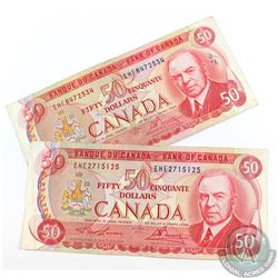 Complete signature type set of the 1975 $50.00 note featuring the RCMP Musical Ride.  Included are t