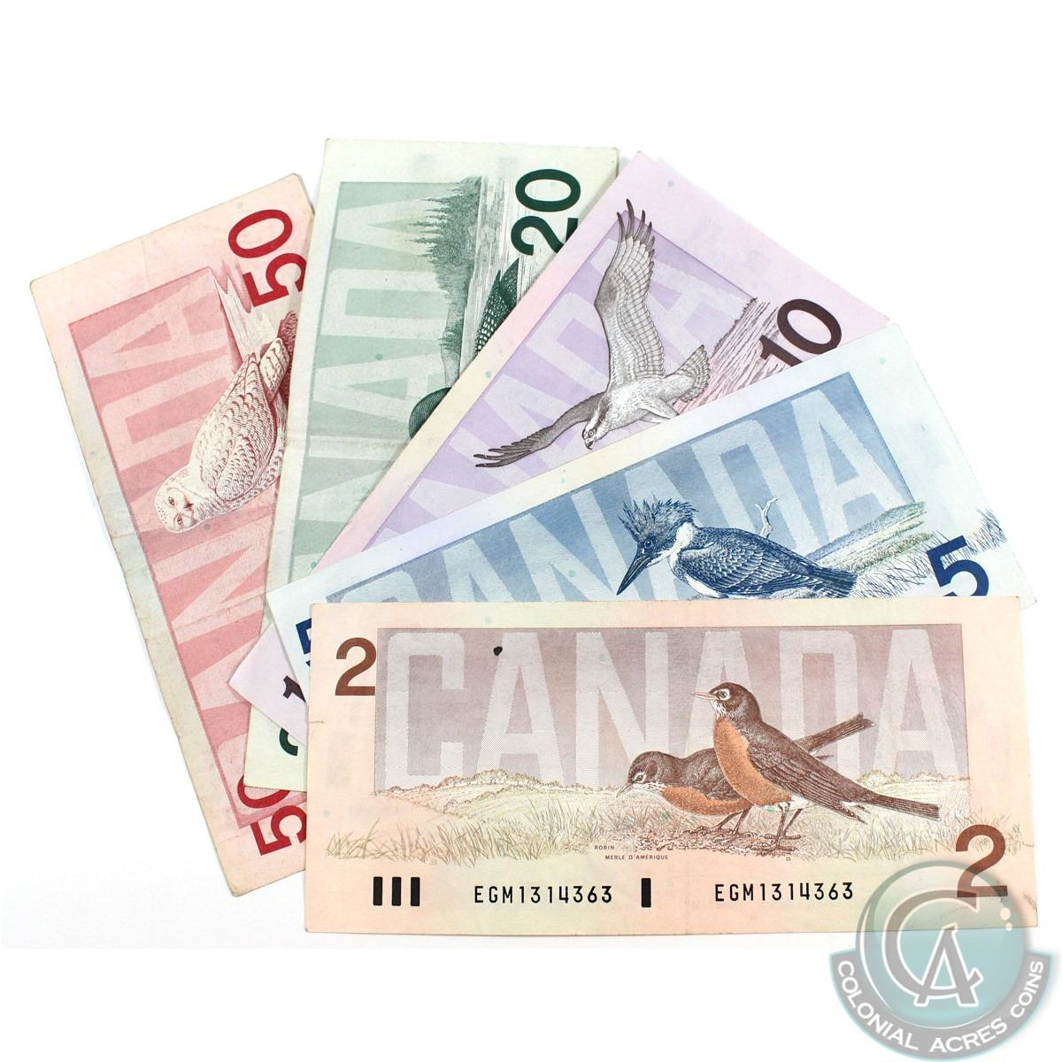 Run Of Five Different Denominations From The Bank Canadas Bird Wiring Money Cibc Series Banknotes In Average Circu