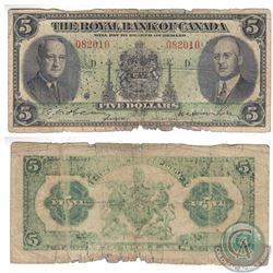 1943 $5.00 note from the Royal Bank of Canada.