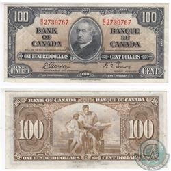 1937 $100.00 note with Gordon-Towers signatures in Almost UNC Condition.  The note has a minor tear