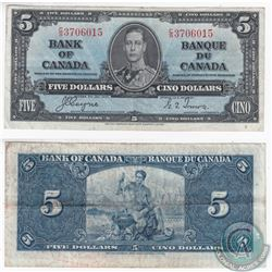 1937 $5.00 note with Coyne-Towers signatures in Extra Fine Condition.