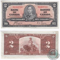 1937 $2.00 note with Coyne-Towers signatures in Almost UNC Condition.  The note has a very minor tea