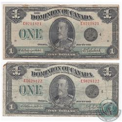 Pair of 1923 $1.00 notes with Campbell-Clark signatures and Black Seal.  2 pcs.