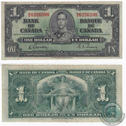 1937 $1.00 note with Gordon-Towers signatures and some smearing of the serial number ink.