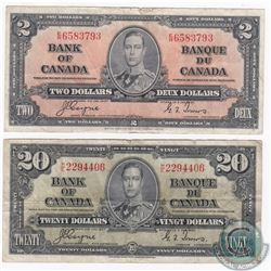 Pair of 1937 banknotes with Coyne-Towers signatures.  Included is a $2 and a $20 in EF and VF condit