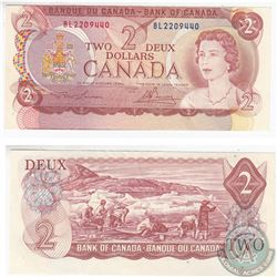 1974 ERROR $2.00 note that has been cut out of register.