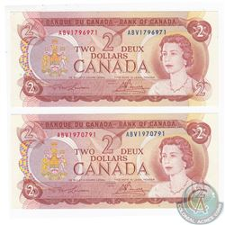 Pair of 1974 RADAR $2.00 notes in CUNC Condition.  2 pcs.