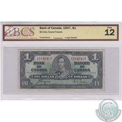 1937 RADAR $1.00 note, BCS Certified F-12.