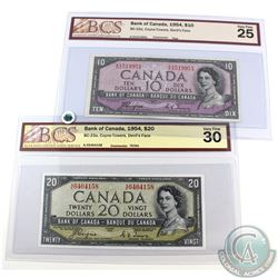 Pair of BCS Certified 1954 Devil's Face banknotes.  Included is a $10 that has a tear and a $20 that