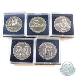 1986, 1987, 1988, 1989, 1990 Canada Brilliant Uncirculated Dollar Collection. Please note the coins