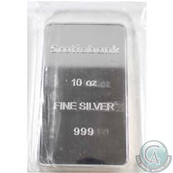 Scotiabank 10oz Fine Silver Bar (Tax Exempt) Sealed in original plastic.