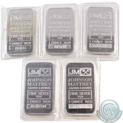 Johnson Matthey 1oz Fine Silver Bars 'A' & 'B' Series (TAX Exempt). You will receive 5 bars still se