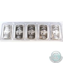 Original Strip of 5 Liberty 1oz Fine Silver Buffalo Bars (Tax Exempt)
