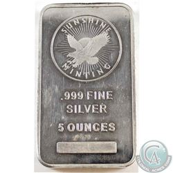 Sunshine 5oz Fine Silver Bar with Security Logo (Tax Exempt)