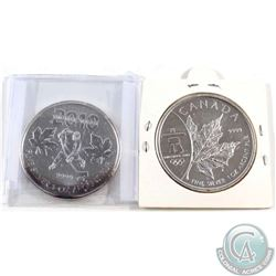 2008 & 2010 Canada $5 Olympic 1oz Fine Silver Maples (Tax Exempt). Lightly toned. 2pcs.