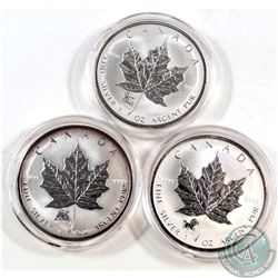 2002 Horse, 2003 Sheep, and 2004 Monkey Privy 1oz Fine Silver Maples (TAX Exempt). Please note coins