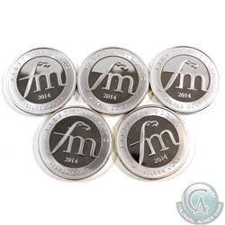 5x 2014 First Majestic 1oz Fine Silver Rounds (TAX Exempt). Please note coins may contain toning. 5p