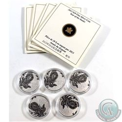 5x 2013 Canada $20 Year of the Snake Fine Silver Coins (TAX Exempt). Coins come encapsulated and acc