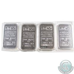 4x Johnson Matthey 1oz Fine Silver Bars 'B' Series (Tax Exempt). 2 Bars come sealed, and 2 come in c
