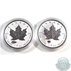 2016 Tank Privy & 2016 Four-Leaf Clover Privy $5 Fine 1oz Silver Maples (Tax Exempt) 2pcs.