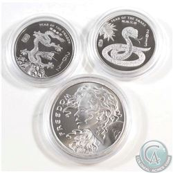 2012 1/2oz Year of the Dragon, 2013 1/2oz Year of the Snake, and Freedom Girl 1oz Fine Silver Rounds