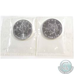 Pair of 2006 Canada $5 Fine Silver 1oz Maples sealed in original Pliofilm (TAX Exempt). Please note