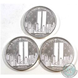Lot of 9/11 1oz Fine Silver Rounds (TAX Exempt). You will receive 2x We Will Never Forget, and 1x Fo