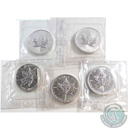 Lot of 1989 Canada $5 Fine Silver 1oz Maples sealed in RCM Packaging (Tax Exempt) 5pcs.