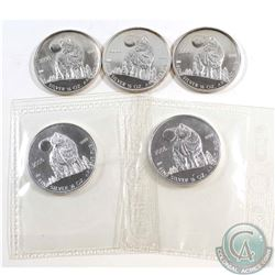 Lot of 2006 Canada $1 Wolf 1/2oz Fine Silver Coins (TAX Exempt). Please note coins may be toned. 5pc