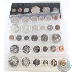 1963, 1965, 1967, 1969, 1970 & 1977 Canada 6-Coin Year Set in various holders.