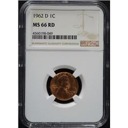1962-D LINCOLN CENT, NGC MS-66 RED