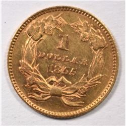 1855 GOLD DOLLAR TYPE 2 BU CLEANED