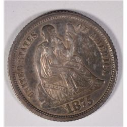 1875-S SEATED LIBERTY DIME BELOW WREATH